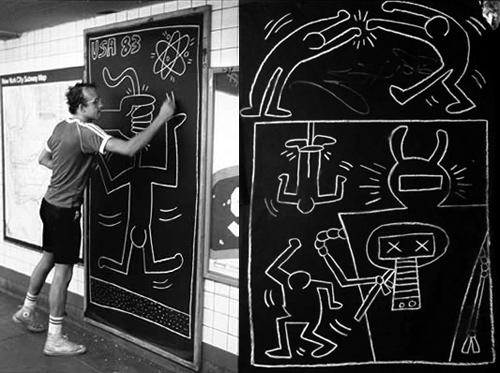Keith Haring, photographié dans le métro par Chantal Regnault, 1983